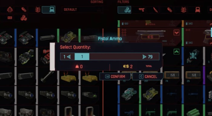 Should You Craft or Buy Ammo Cyberpunk 2077 - Ammo Shop screen