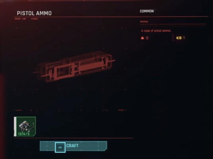 Should You Craft or Buy Ammo Cyberpunk 2077 - Crafting Ammo screen
