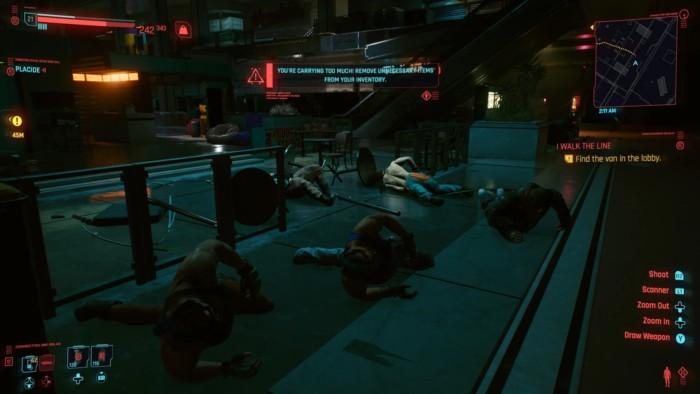 I Walk the line walkthrough cyberpunk 2077 - dead bodies